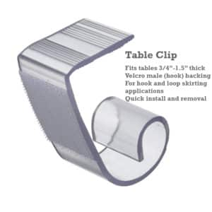 table skirting clips drape accessories canwil textiles